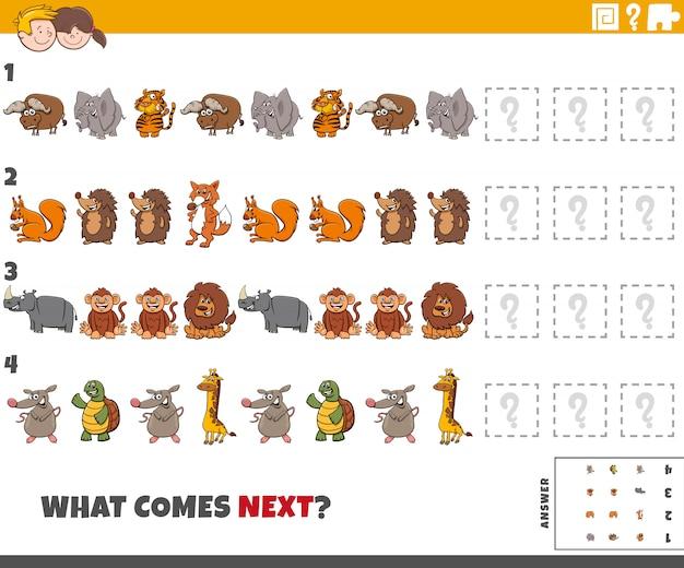 Gra Edukacyjna Dla Dzieci Ze Zwierzętami Premium Wektorów