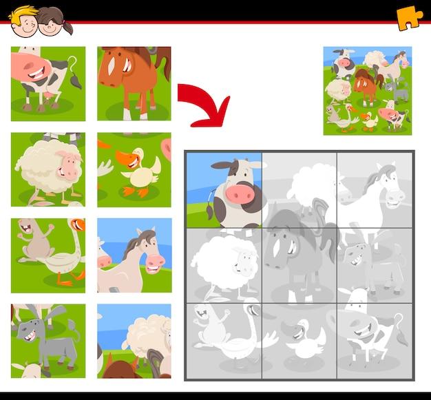 Gra Edukacyjna Jigsaw Puzzle Ze Zwierzętami Hodowlanymi Premium Wektorów