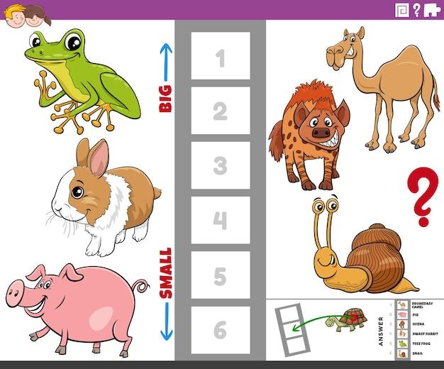 Gra Edukacyjna Z Dużymi I Małymi Zwierzętami Z Kreskówek Premium Wektorów
