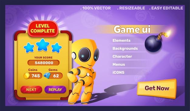 Gra Fantasy Ui Robota I Ukończony Poziom Premium Wektorów