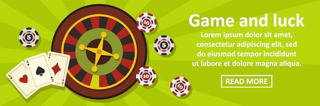 Gra I Szczęście Transparent Poziomy Koncepcja Premium Wektorów