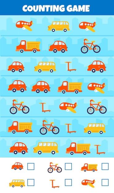 Gra Licząca Z Różnymi Typami Samochodów Darmowych Wektorów