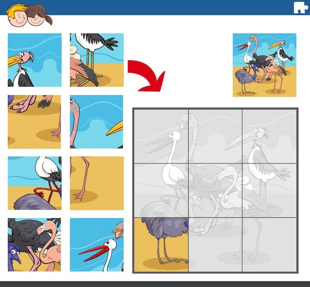 Gra Logiczna Z Komiksowymi Postaciami Ptaków Premium Wektorów