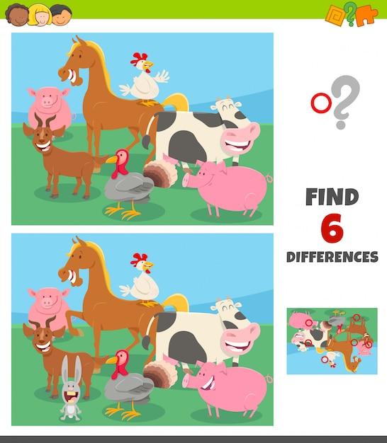 Gra Różnice Z Grupą Postaci Ze Zwierząt Gospodarskich Premium Wektorów