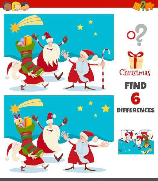 Gra Różnice Z Postaciami świątecznymi świętego Mikołaja Premium Wektorów