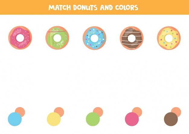 Gra W Dopasowywanie Kolorów Dla Dzieci. Pączki Kreskówka. Premium Wektorów
