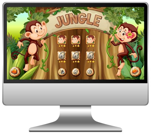 Gra W Dżungli Na Ekranie Komputera Darmowych Wektorów