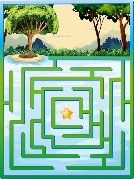 Gra W Labirynt Z Naturą Darmowych Wektorów