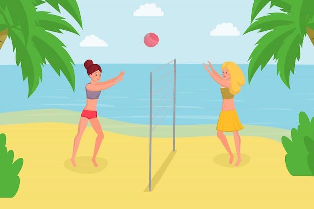 Gra W Siatkówkę Plażową Na Letnie Wakacje. Ciesząc Się Grą W Piłkę Z Przyjacielem Na Brzegu Oceanu Premium Wektorów