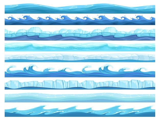 Gra W Wodę Bez Szwu. Lodowe Oceany Morskie Lub Rzeki Warstwy Kolekcja Gotowych Powierzchni Dla Paralaksy Premium Wektorów