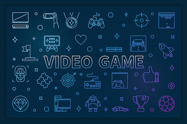 Gra Wideo Niebieski Poziomy Baner - Ilustracja Liniowa Premium Wektorów