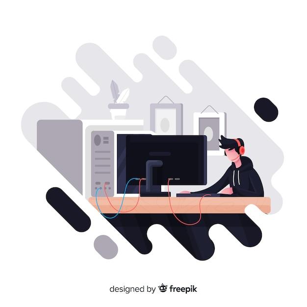 Gracz Grający Z Komputerem Darmowych Wektorów