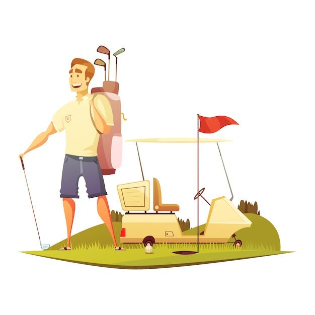 Gracz w golfa na kursie z koszyka koszyka i pin czerwona flaga w pobliżu otworu ilustracji wektorowych kreskówki retro Darmowych Wektorów