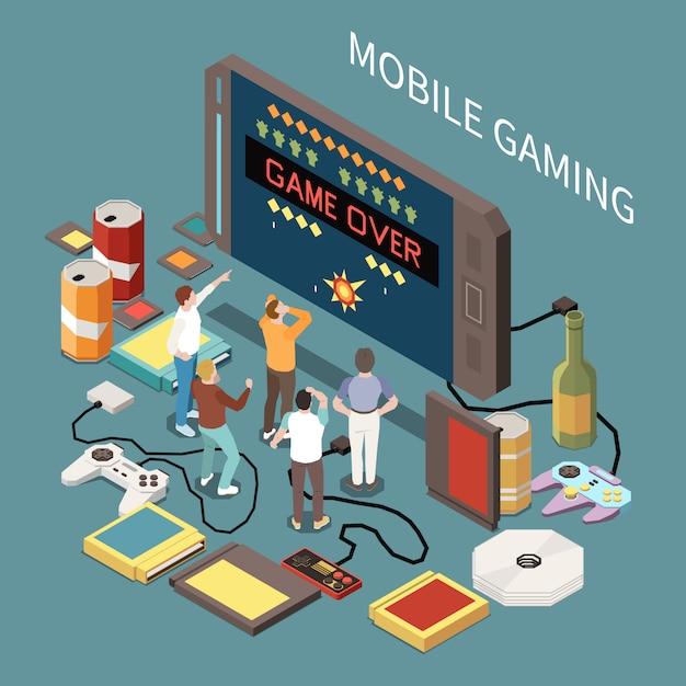 Gracze Dla Graczy Izometryczny Skład Z Wizerunkiem Smartfona Małe Postacie Ludzi I Joysticki Kartridże Dysków Kompaktowych Darmowych Wektorów