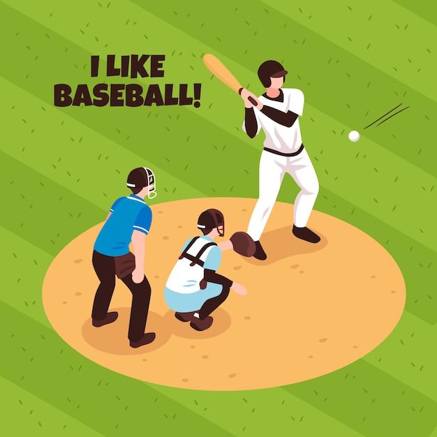 Gracze I Arbiter Podczas Baseballa Dopasowywają Na Pola Gry Isometric Ilustraci Darmowych Wektorów