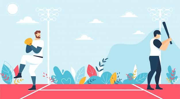 Gracze płci męskiej i mecz baseballowy na kortu cartoon Premium Wektorów