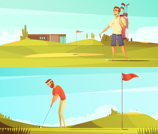 Gracze w golfa na kurs 2 banery kreskówka retro poziome zestaw z flagą czerwona pinezka na białym tle wektor illu Darmowych Wektorów