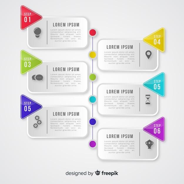 Gradient infographic kroki Darmowych Wektorów