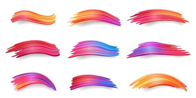 Gradient Kolorowych Smug, Od Czerwonego Do Pomarańczowego, Fioletowego, Niebieskiego Pociągnięcia Pędzlem, Kicz Farby Akrylowej Lub Zestaw Izolowanych Wacików Akwarelowych, Barwników Lub Rysunków Tuszem. Streszczenie Dekoracji Lub Kolorowy Element Projektu Premium Wektorów