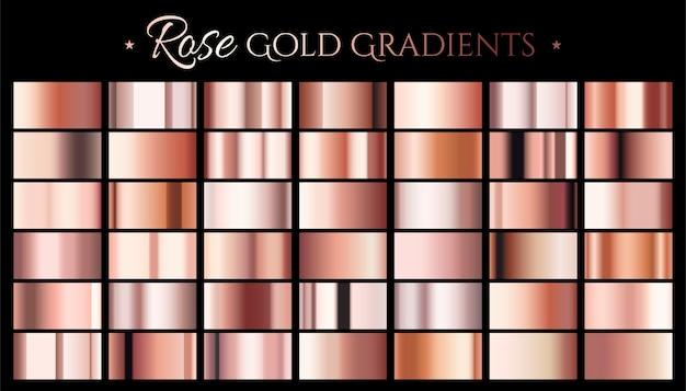 Gradient Koloru Różowego Złota, Zestaw Abstrakcyjnych Metalicznych Premium Wektorów