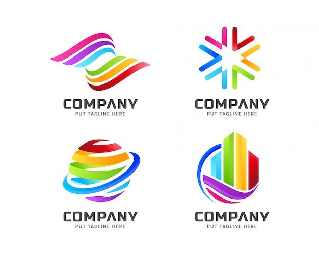 Gradient logo firmy kolorowe tęczy szablon z abstrakcyjny kształt Premium Wektorów