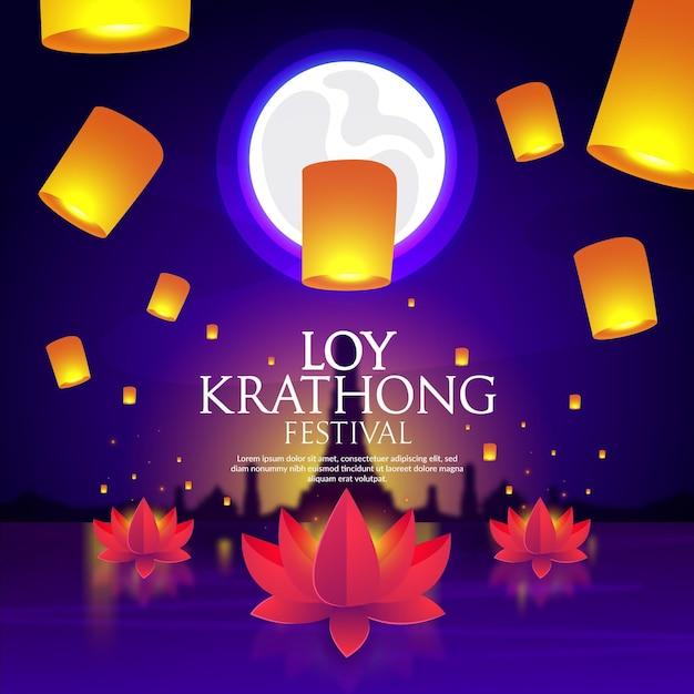 Gradient Loy Krathong Darmowych Wektorów