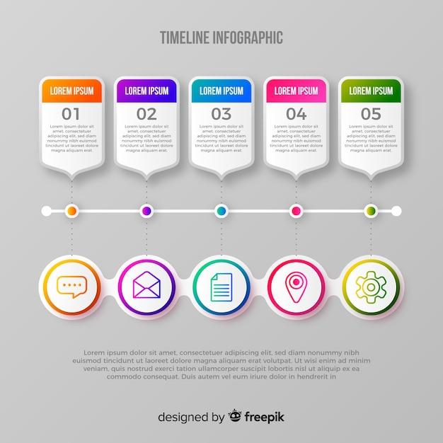Gradientowa infografika osi czasu Darmowych Wektorów