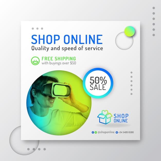 Gradientowa Ulotka Na Zakupy Online Darmowych Wektorów