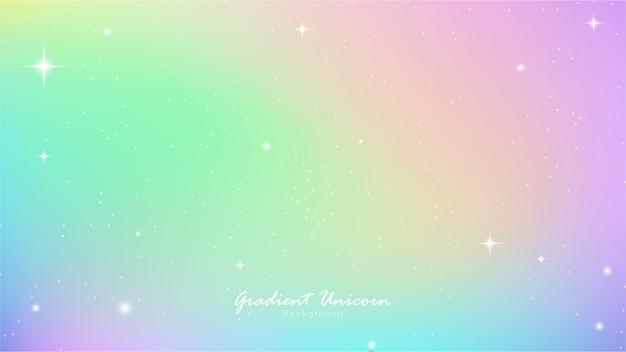 Gradientowe kolorowe niebo jednorożca Premium Wektorów