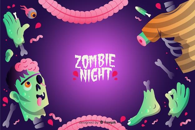 Gradientowe tło halloween zombie Darmowych Wektorów