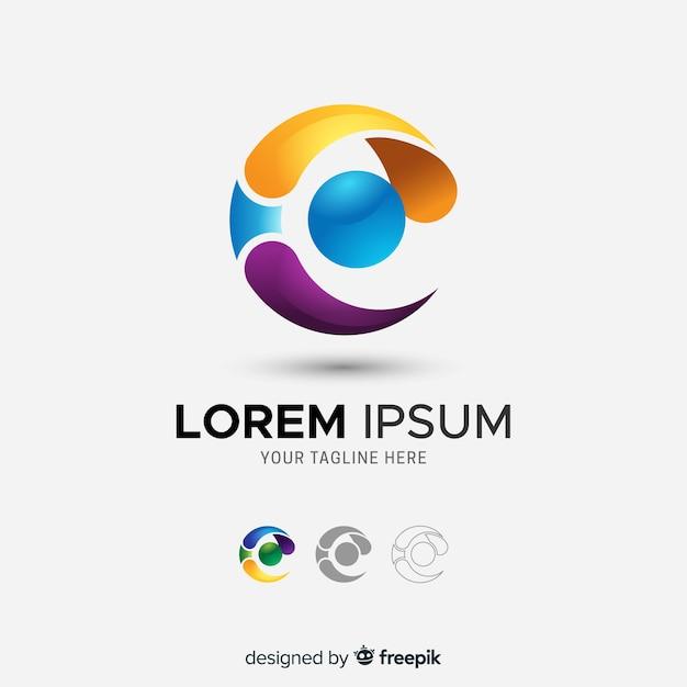 Gradientowe Trójwymiarowe Logo Firmy Abstrakcyjne Darmowych Wektorów