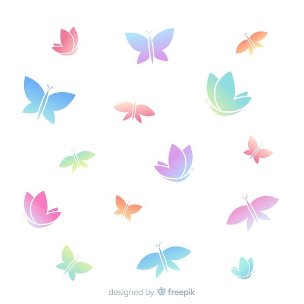 Gradientowy motyl sylwetek latać Darmowych Wektorów
