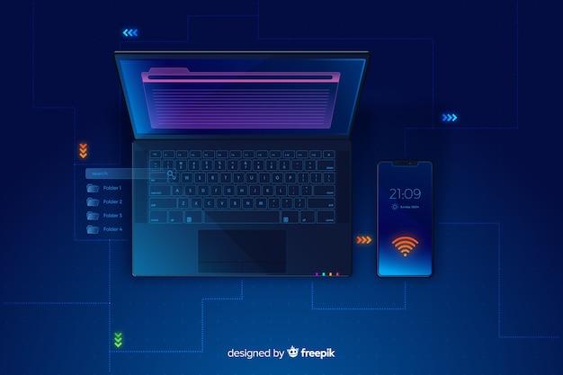 Gradientowy odgórny widok laptopu technologii tło Darmowych Wektorów