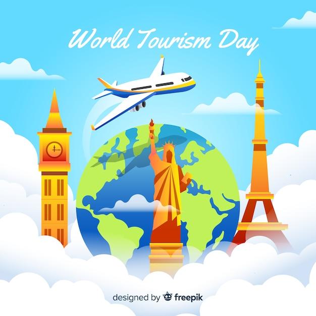 Gradientowy światowy dzień turystyki z samolotem Darmowych Wektorów
