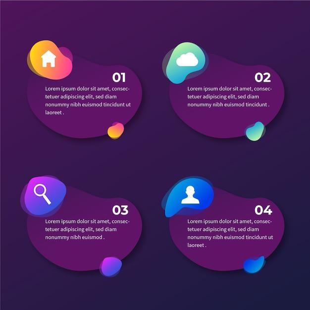 Gradientu Abstrakcyjny Kształt Infographic Z Ikonami Darmowych Wektorów