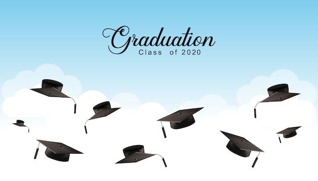 Graduation Caps W Tle Powietrza Premium Wektorów