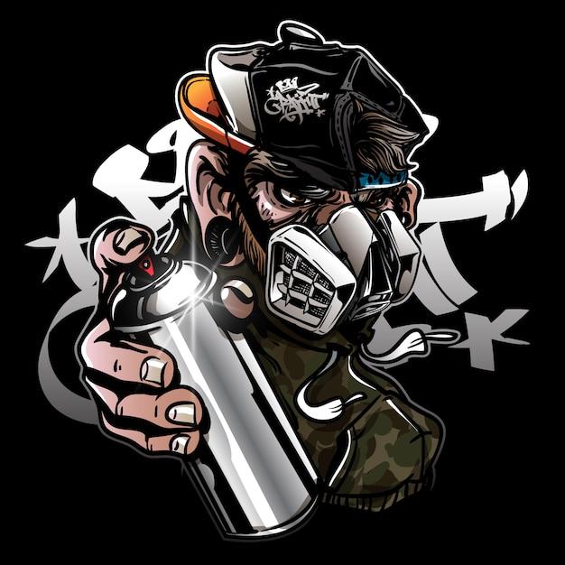 Graffiti Charakter Małpa Z Maską Gazową Premium Wektorów