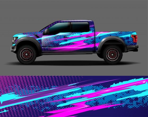 Graficzna naklejka winylowa na samochód ciężarowy Premium Wektorów