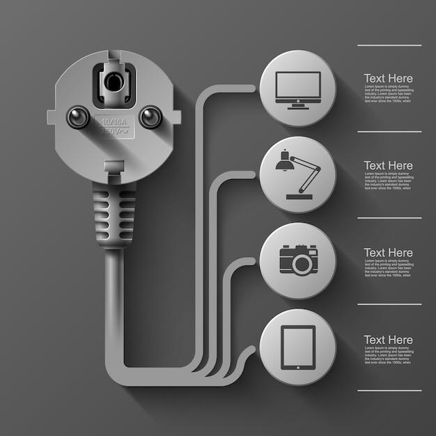 Grafika Biznesowa, Wtyczka Elektryczna, Kwadrat Z Sektorami Informacyjnymi Pod, Ilustracja Premium Wektorów
