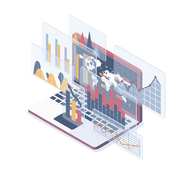 Grafika Do Analizy Danych Premium Wektorów