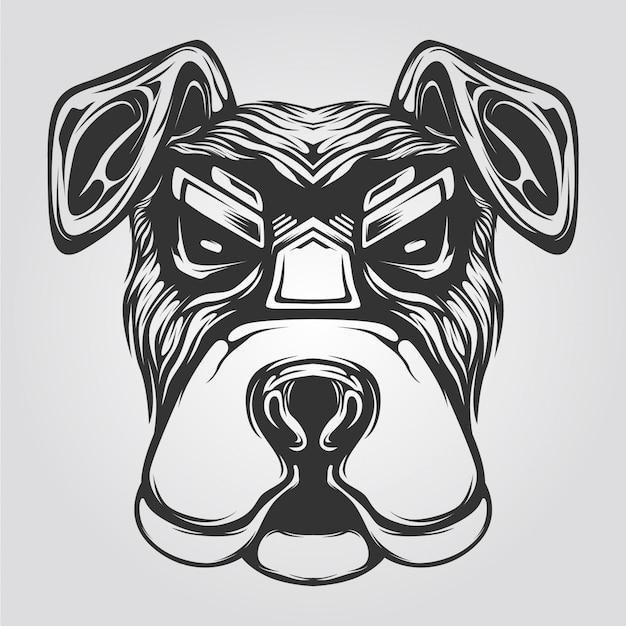 Grafika liniowa czarno-biały pies Premium Wektorów