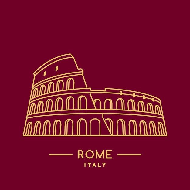 Grafika Liniowa Koloseum. Premium Wektorów