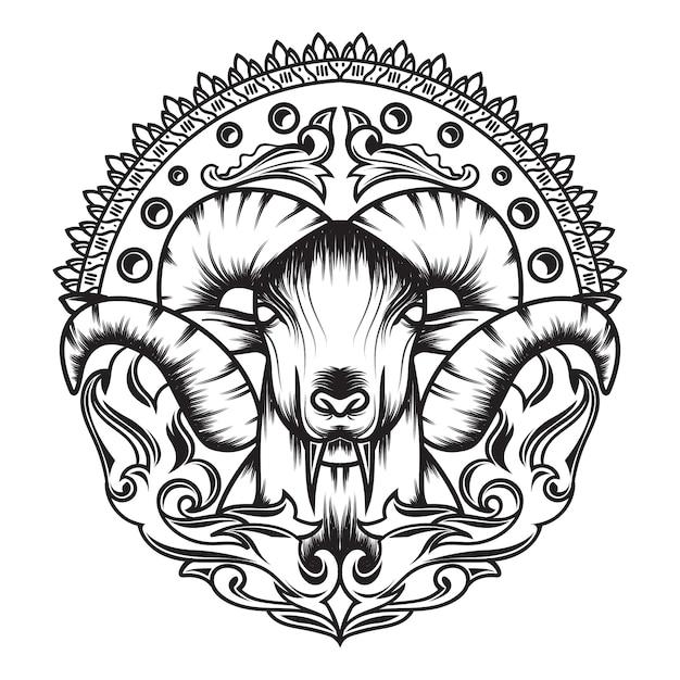 Grafika liniowa kozy mitologii z pięknym ornamentem Premium Wektorów