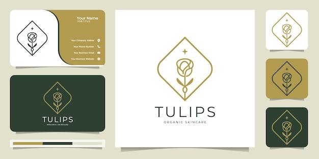 Grafika Liniowa Logo Kwiat Tulipana, Organiczna, Pielęgnacja Skóry, Styl, Typ Logo, Szablon Logo I Wizytówka. Premium Wektorów