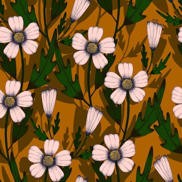 Grafika liniowa ręcznie rysunek wzór światło różowy kwiat bez szwu i zielony liść na żółty brąz Premium Wektorów