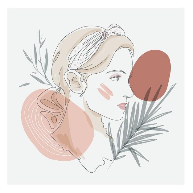 Grafika Liniowa Rysunek Pięknej Twarzy Kobiety Premium Wektorów