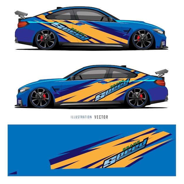 Grafika Samochodowa. Abstrakcyjne Linie Z Niebieskim Wzorem Dla Pojazdu Winylowego Premium Wektorów