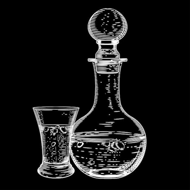 Grafika Wektorowa Z Karafki Wódki I Kieliszek Wódki Na Czarno Premium Wektorów