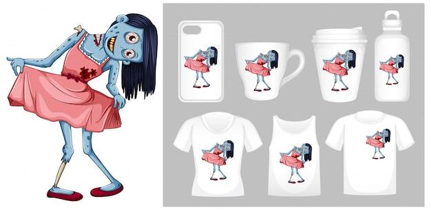 Grafika zombie w różowej sukience na różnych szablonach produktów Darmowych Wektorów