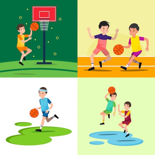 Grając W Koszykówkę Premium Wektorów